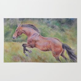 A brown horse is jumping on a green meadow Pastel drawing Animal Art in the landscape Rug