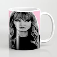 jennifer lawrence Mugs featuring Jennifer Lawrence by Lydia Dick