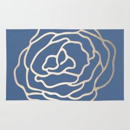 Flower in White Gold Sands on Aegean Blue Rug