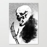 skeleton Canvas Prints featuring Skeleton by Jaaaiiro