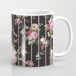 Elegant faux rose gold black stripes vintage blush pink lavender floral Coffee Mug