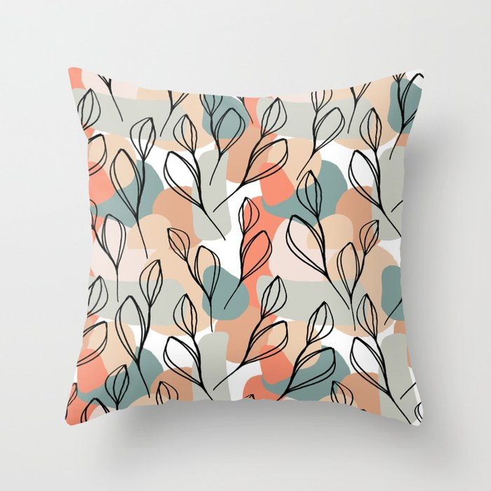 Black leaves and pastel background pattern Throw Pillow
