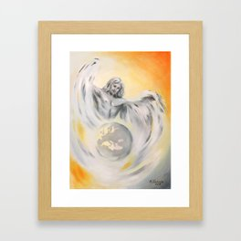 Guardian Angel World Peace - Handpainted Angel Art Framed Art Print
