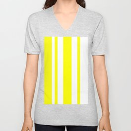 Mixed Vertical Stripes - White and Yellow Unisex V-Neck