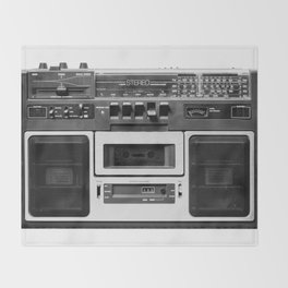 cassette recorder / audio player - 80s radio Throw Blanket