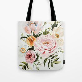 Loose Peonies & Poppies Floral Bouquet Tote Bag