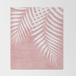Pink Paint Stroke of Palm Leaves Throw Blanket