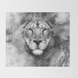 Lion Black and White Throw Blanket