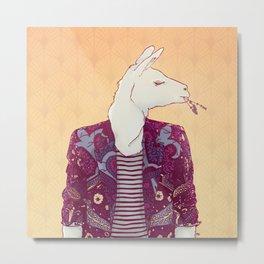 Eddy the Llama Metal Print