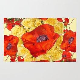 ORANGE POPPY FLOWERS GARDEN YELLOW ROSES ART Rug