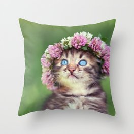 Springtime Feline Princess Throw Pillow
