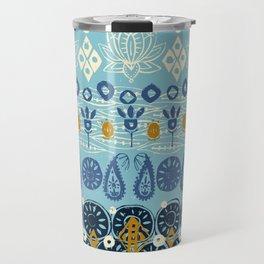 lotus block blue Travel Mug