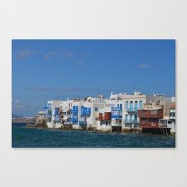 Greece - Mykonos Buildings Meet the Sea  Canvas Print
