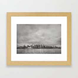 Vancouver Raincity Series - Raincity i - Moody Downtown Vancouver Cityscape Framed Art Print