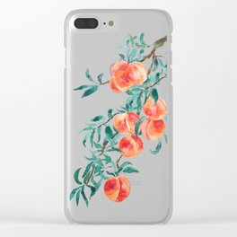 peach watercolor Clear iPhone Case
