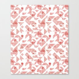 Peach pink tangram triangle pattern Canvas Print