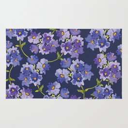 Purple Watercolour Blossom All Over Pattern Rug