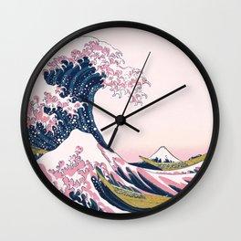 The Great Pink Wave off Kanagawa Wall Clock