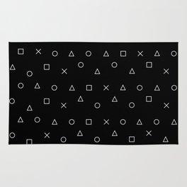 black gaming pattern - gamer design - playstation controller symbols Rug
