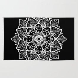 White Mandala On Black Rug