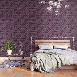Vintage Merlot Lace Mandala Wallpaper