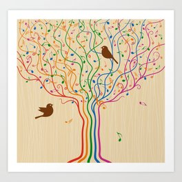 Retro Style Musical Notes Tree Art Print