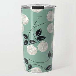 Pattern with white roses Travel Mug