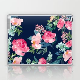 Navy and Pink Watercolor Peony Laptop & iPad Skin