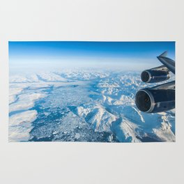 Glaciers of Greenland from 37,000ft Rug