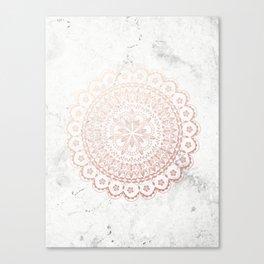 Rose gold mandala and grey marble Canvas Print