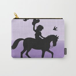 Girl and horse silhouette lavender Carry-All Pouch