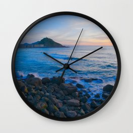 Sunset blue and orange. San Sebastian, Spain. Wall Clock