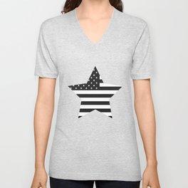 American Flag Stars and Stripes Black White Unisex V-Neck