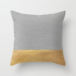 Color Blocked Gold & Grey Throw Pillow