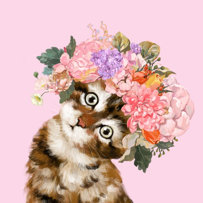 Baby Cat with Flower Crown Comforters by bignosework   Society6