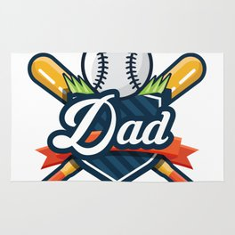 Baseball And Dad Funny Fathers Day Gift Rug