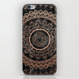 Mandala - rose gold and black marble iPhone Skin