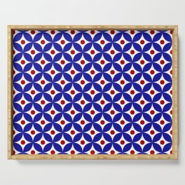 Bright blue, red and white elegant tile ornament pattern Serving Tray