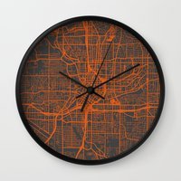 atlanta Wall Clocks featuring Atlanta map by Map Map Maps