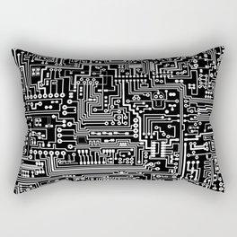 Circuit Board on Black Rectangular Pillow