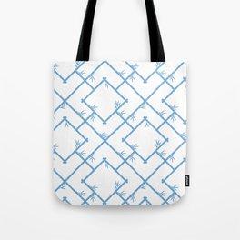 Bamboo Chinoiserie Lattice in White + Light Blue Tote Bag