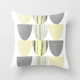 Yellow and Grey Geometric Abstract Scallop Pattern Throw Pillow