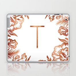 Letter T - Faux Rose Gold Glitter Flowers Laptop & iPad Skin