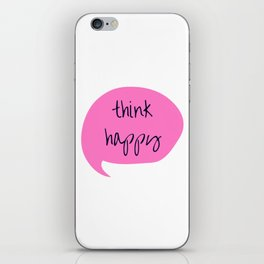 THINK HAPPY PINK BUBBLE iPhone Skin
