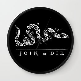 Join or Die in Black and White Wall Clock