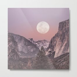 Pastel Full Moon Over Yosemite Park Metal Print