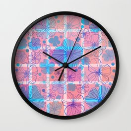 Drawing flowers in cubes Wall Clock