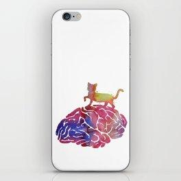 Cat and brain iPhone Skin
