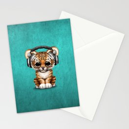 Cute Tiger Cub Dj Wearing Headphones on Blue Stationery Cards