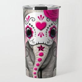 Pink Day of the Dead Sugar Skull Baby Elephant Travel Mug